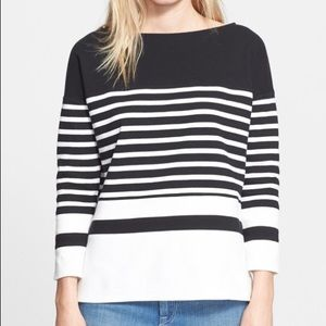 NWT Vince nautical stripe boatneck top Sz small